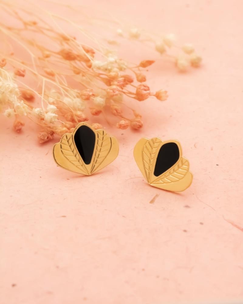 Puces d'oreilles Chloé - Noir