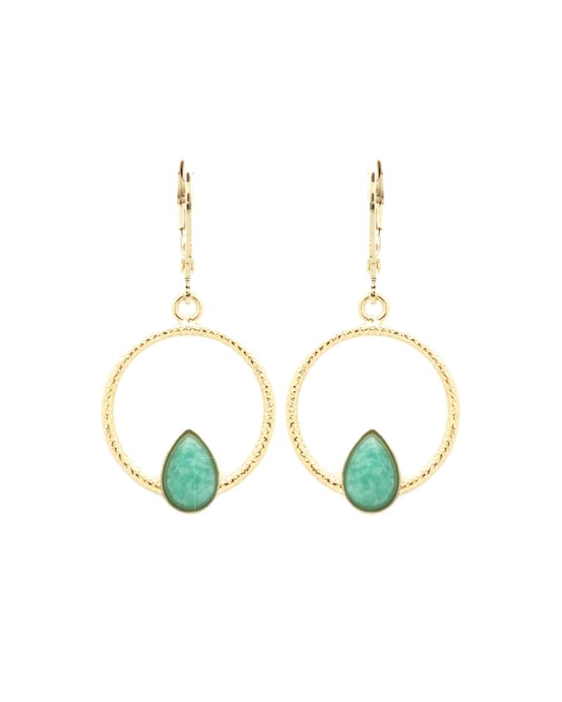 Boucles d'oreilles pendantes Lili en Amazonite