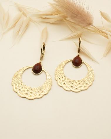 Boucles d'oreilles pendantes Katniss - Jaspe Breschia