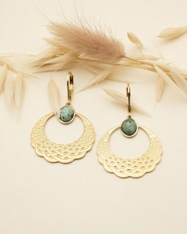 Boucles d'oreilles pendantes Katniss - Jaspe Africain