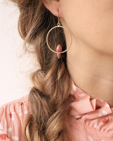 Boucles d'oreilles Lili 2 pierres en Rhodonite