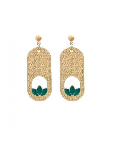Boucles d'oreilles pendantes et allongées de la collection Madison en Vert Émeraude