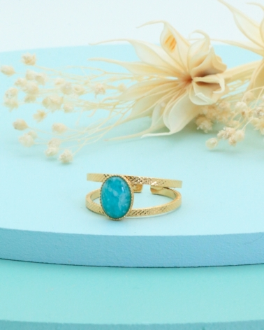 Bague manhattan amazonite
