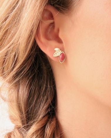 Puces d'oreilles Alice en feuille et pierre rhodonite