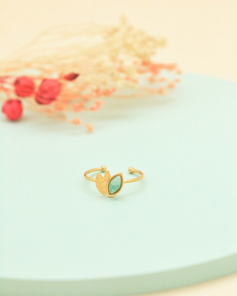 Bague alice en amazonite