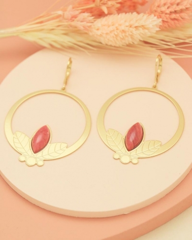 Grandes boucles d'oreilles pendantes de la collection Alice en Rhodonite