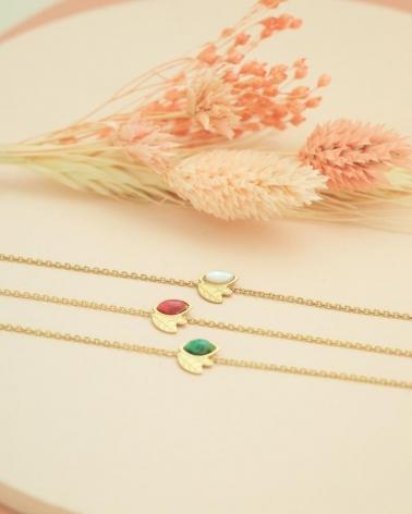 Bracelets Chaîne Alice en Nacre, Rhodonite et malachite