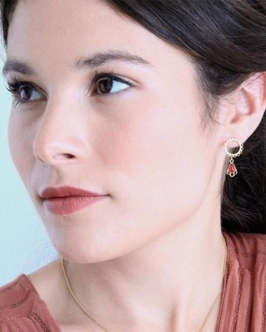 Boucles d'oreilles avec cercle en dentelle doré en cornaline