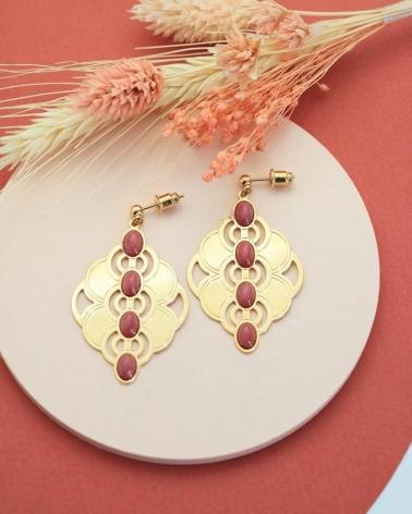 Boucles d'oreilles 4 pierres - Volubilis en rhodonite