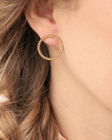 Boucles d'oreilles dorées anneau fin Toscane