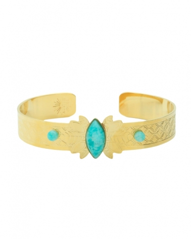 Bracelet manchette Alice avec 3 pierres fines Amazonite