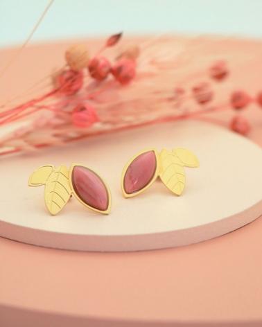 Maxi Puces d'oreilles Alice en rhodonite