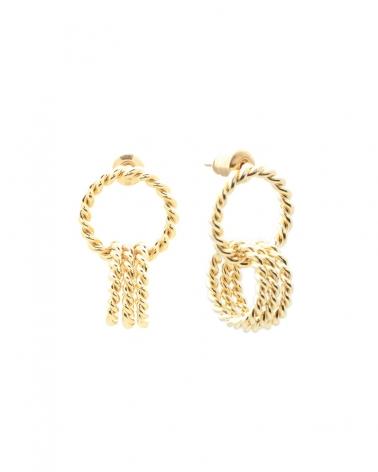 Boucles d'oreilles dorées triple anneaux entrelacés