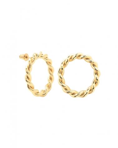 Boucles d'oreilles dorées Toscane, gros anneau
