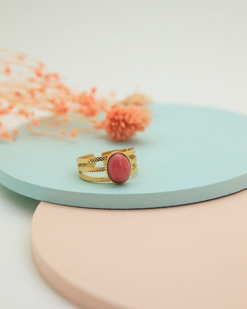 Bague triple Manhattan en pierre rhodonite