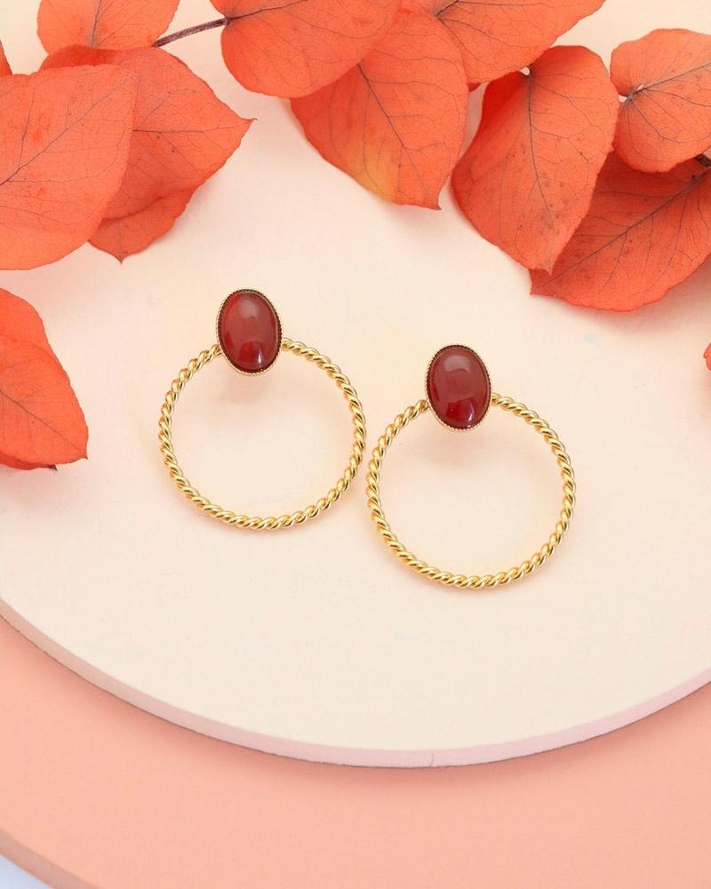 Boucles d'oreilles pierre - Toscane en cornaline