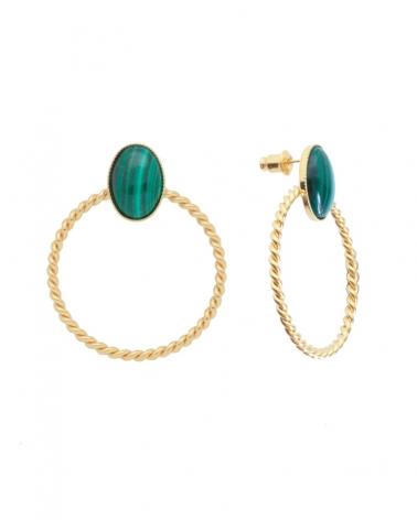 Boucles d'oreilles pierre - Toscane en malachite