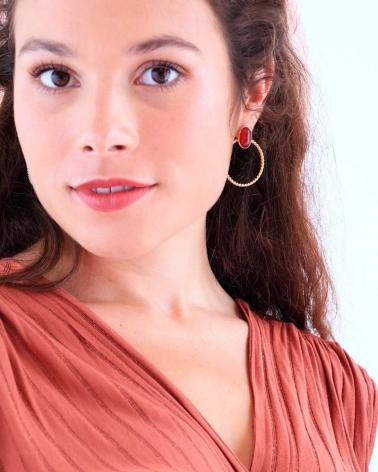 Boucles d'oreilles pierre - Toscane portées par Marie en cornaline