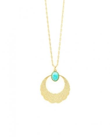 Collier pierre ovale Katniss - Amazonite