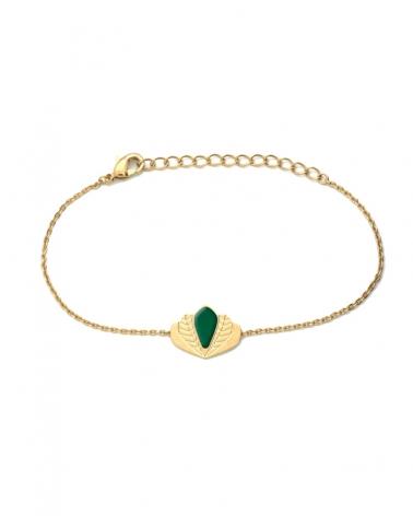 Bracelet chaîne - Chloé vert émeraude