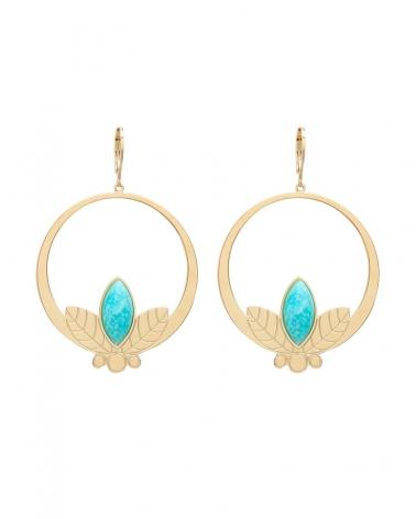 Grandes boucles d'oreilles pendantes de la collection Alice en Amazonite