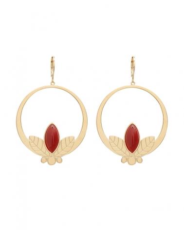 Grandes boucles d'oreilles pendantes de la collection Alice en Cornaline