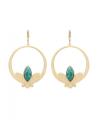 Grandes boucles d'oreilles pendantes de la collection Alice en jaspe Africain