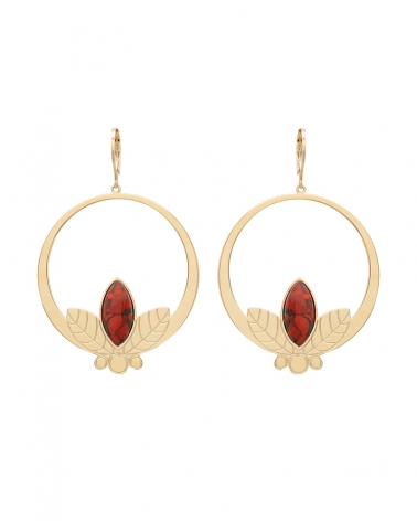 Grandes boucles d'oreilles pendantes de la collection Alice en Jaspe Breschia