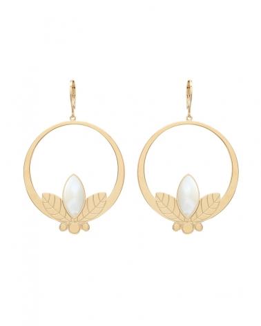 Grandes boucles d'oreilles pendantes de la collection Alice en Nacre