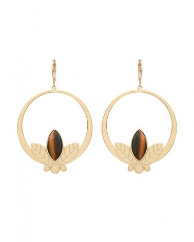 Grandes boucles d'oreilles pendantes de la collection Alice en Oeil de Tigre