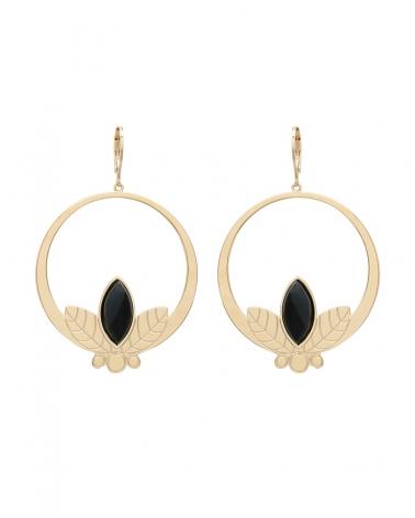 Grandes boucles d'oreilles pendantes de la collection Alice en Agathe Noire