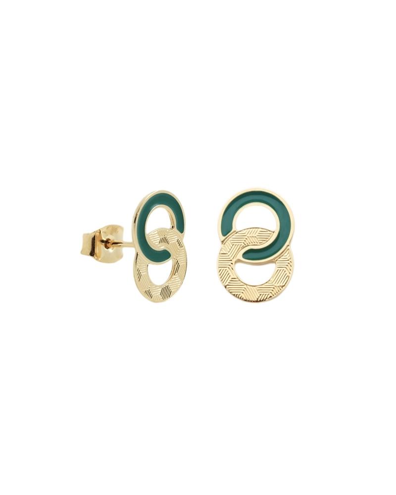 Boucles d'oreilles puces Isadora - Vert Emeraude