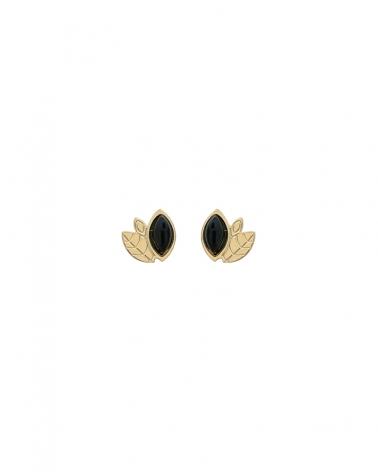 Boucles d'oreilles Alice Mini puces avec Agathe Noire