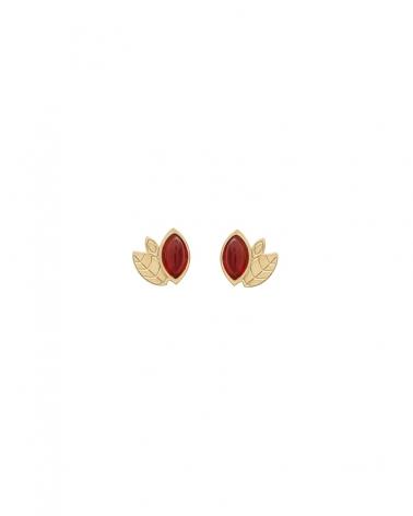 Boucles d'oreilles Alice Mini puces en Cornaline