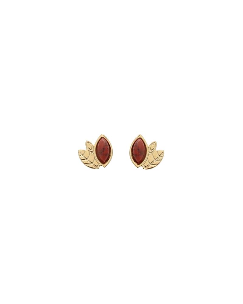 Boucles d'oreilles Alice Mini puces en Jaspe Breschia