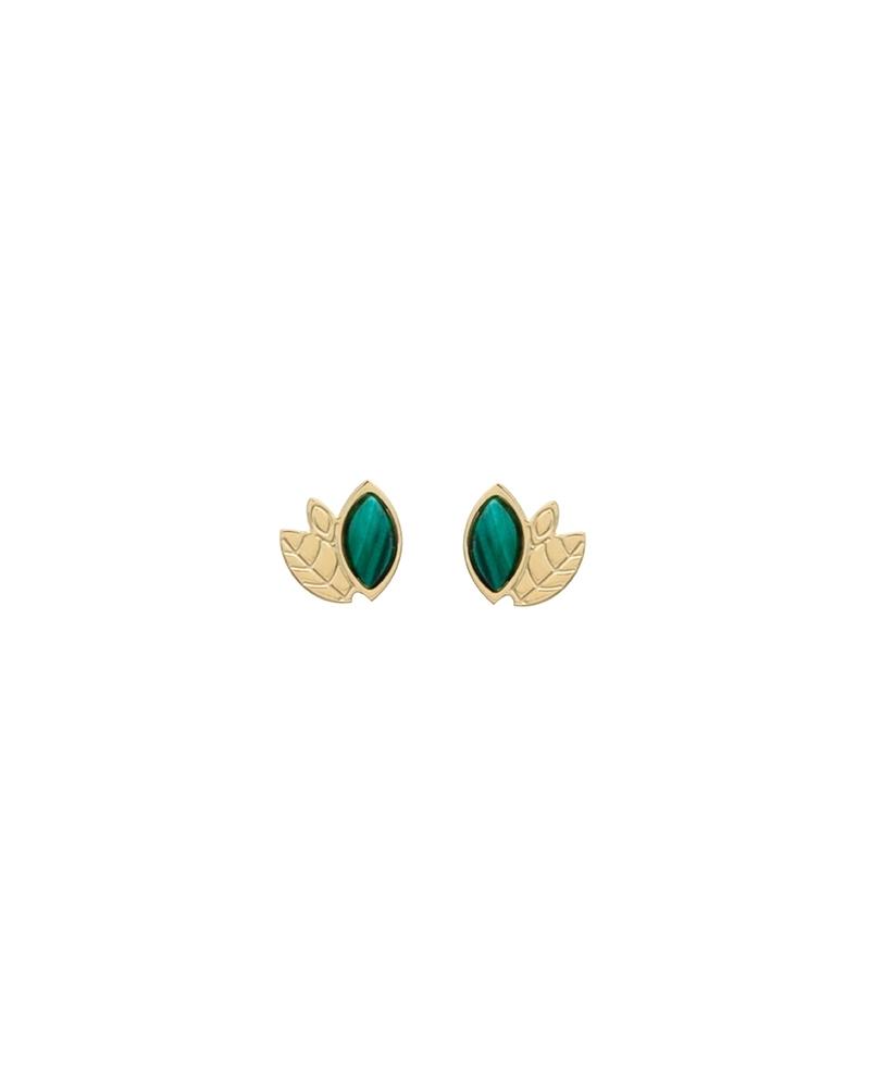 Boucles d'oreilles Alice Mini puces en Malachite