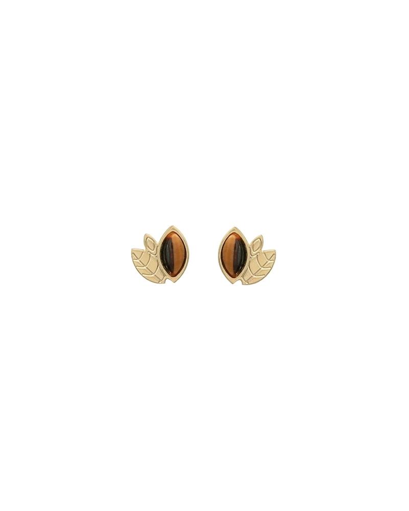 Boucles d'oreilles Alice Mini puces en Oeil de Tigre