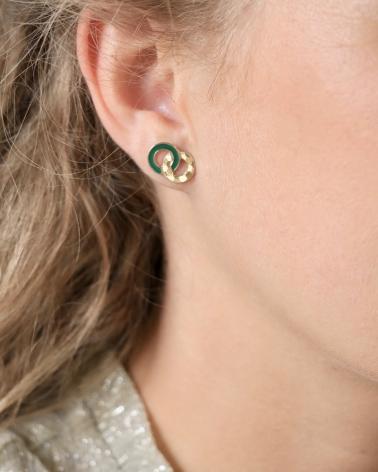 Boucles d'oreilles puces Isadora Vert Emeraude Portées