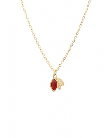 Collier Alice court en Cornaline