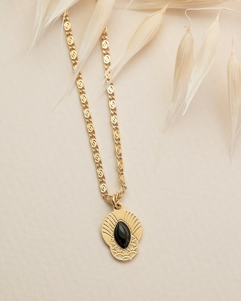 Honolulu petit collier Agate Noire