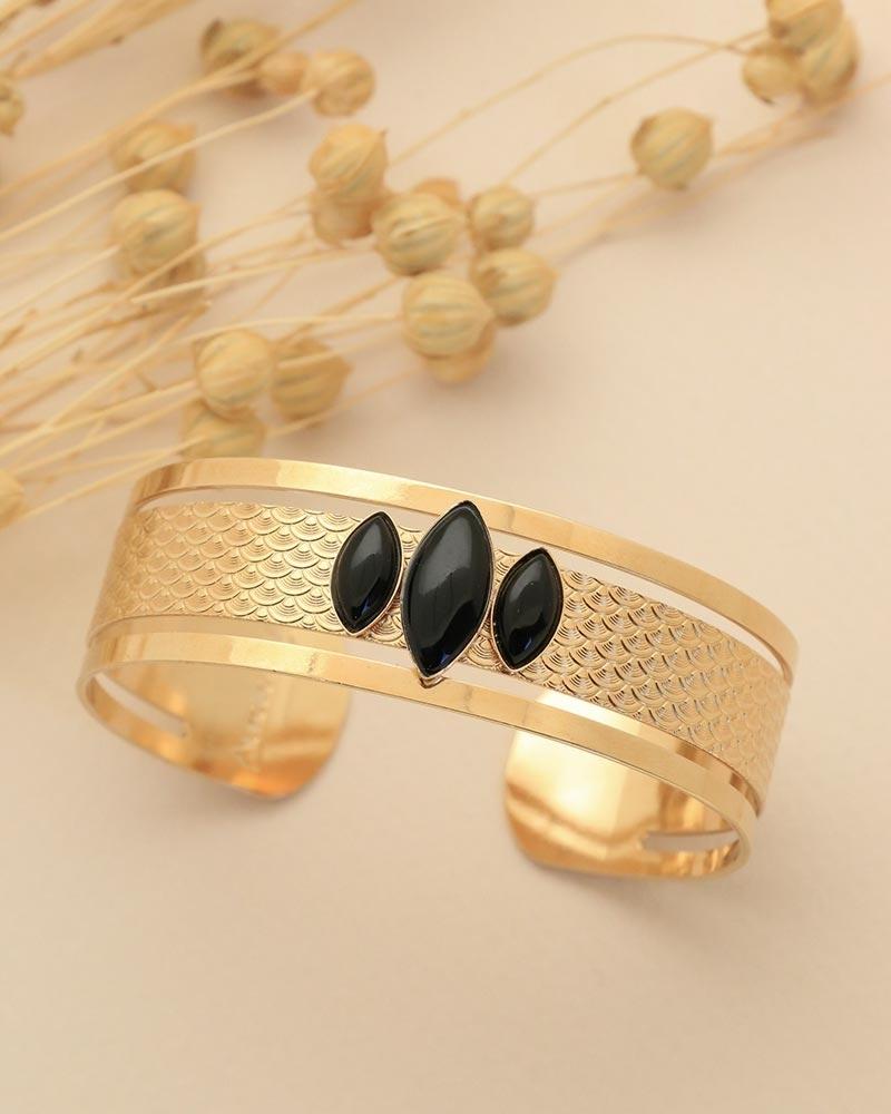 Manchette 3 pierres - Honolulu Agate Noire