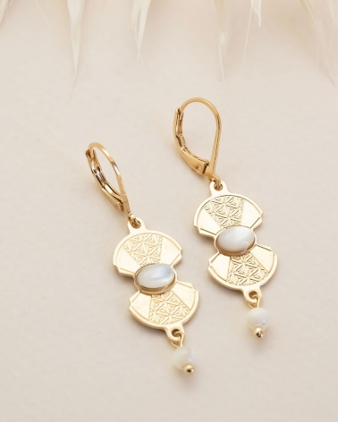 Boucles Pendantes Manhattan - Nacre