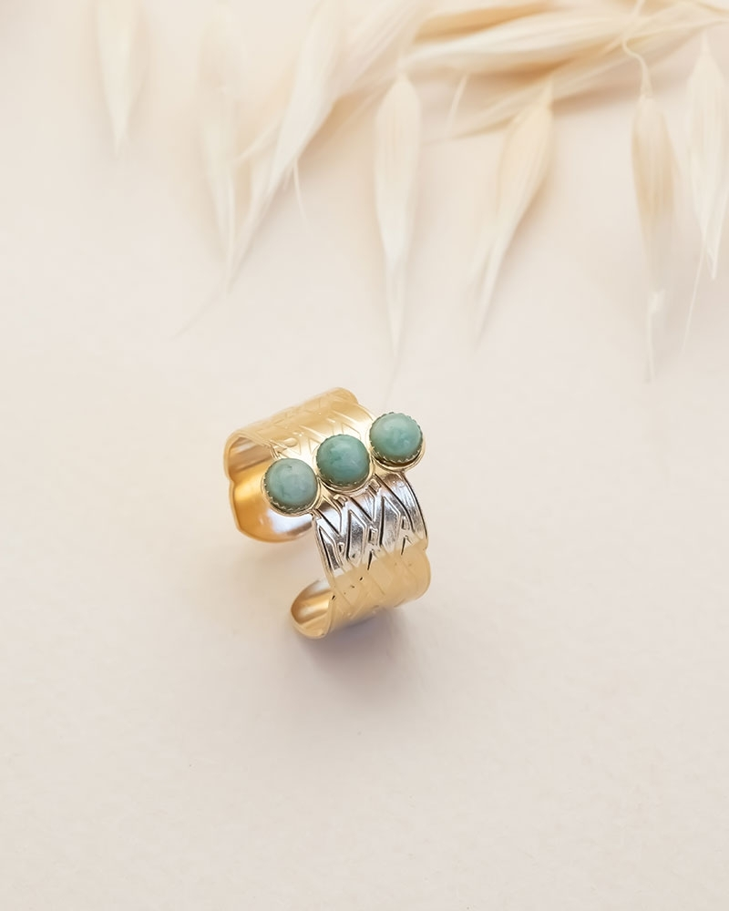 Bague 3 Pierres Katniss - Amazonite
