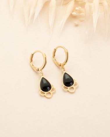 Boucles d'oreilles pierre en goutte Junon - Agate Noire