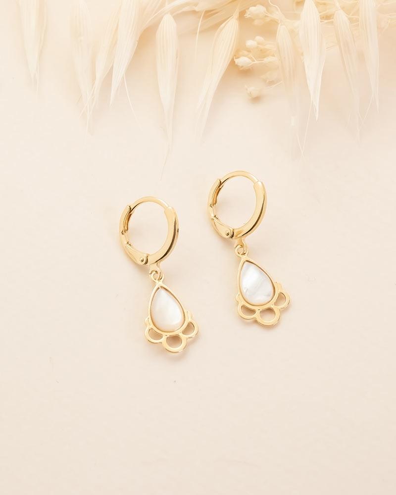 Boucles d'oreilles pierre en goutte Junon - Nacre