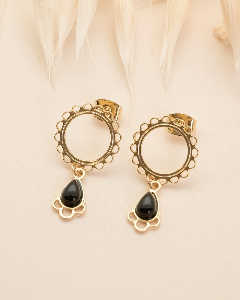 Boucles d'oreilles cercle dentelé Junon - Agate Noire