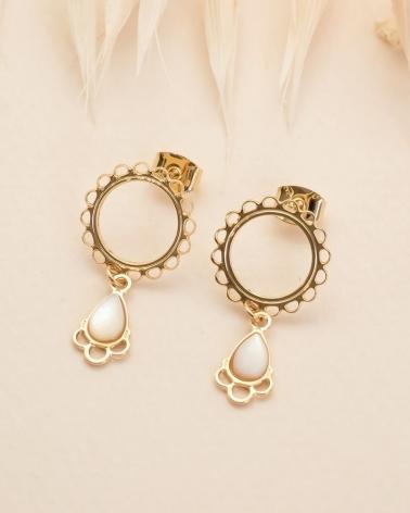 Boucles d'oreilles cercle dentelé Junon - Nacre