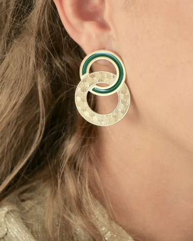 Maxi puces d'oreilles Isadora Vert Emeraude Portées