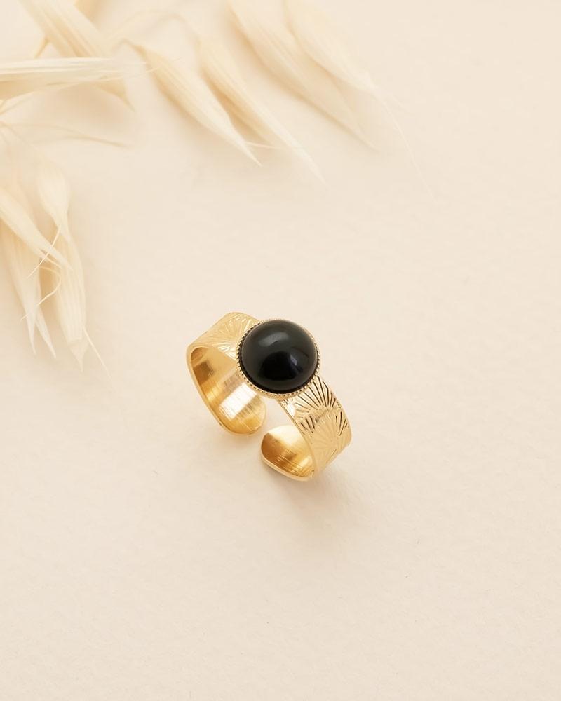 Bague Grande Pierre Blossom - Agate Noire