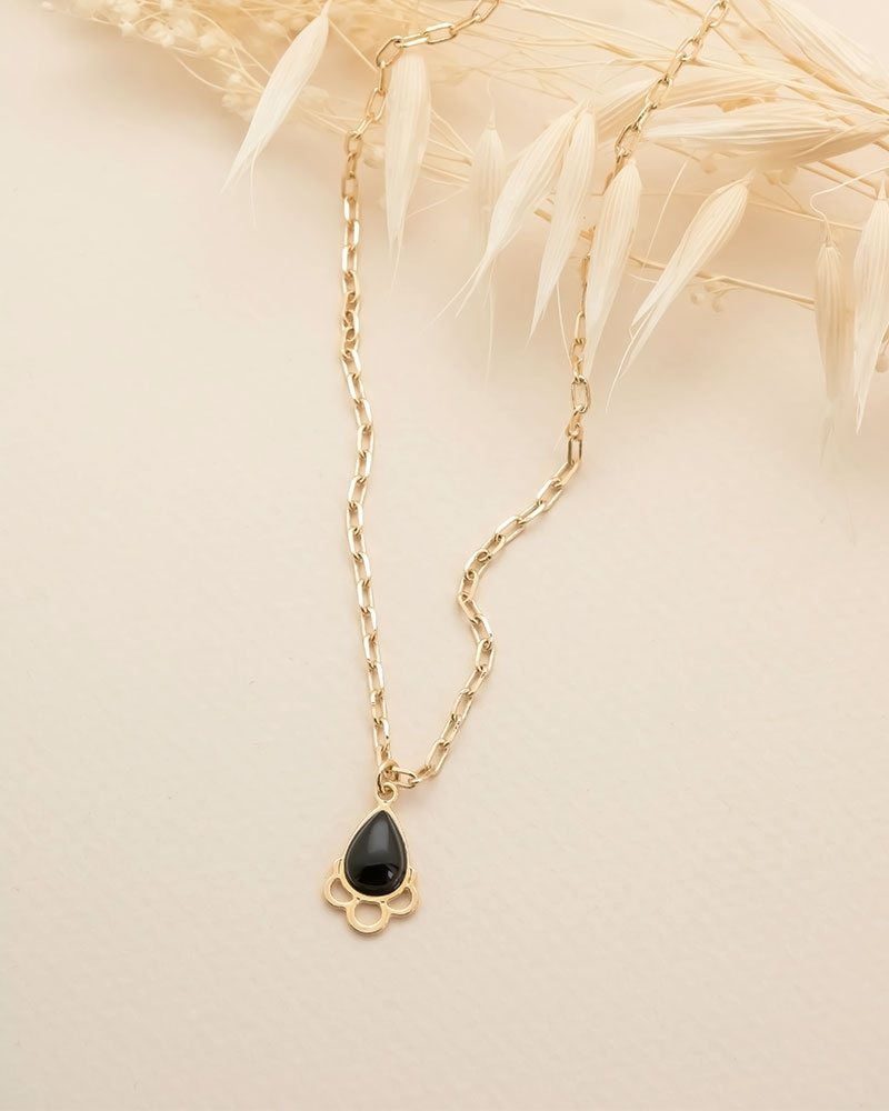 Collier Grande Goutte Junon - Agate Noire